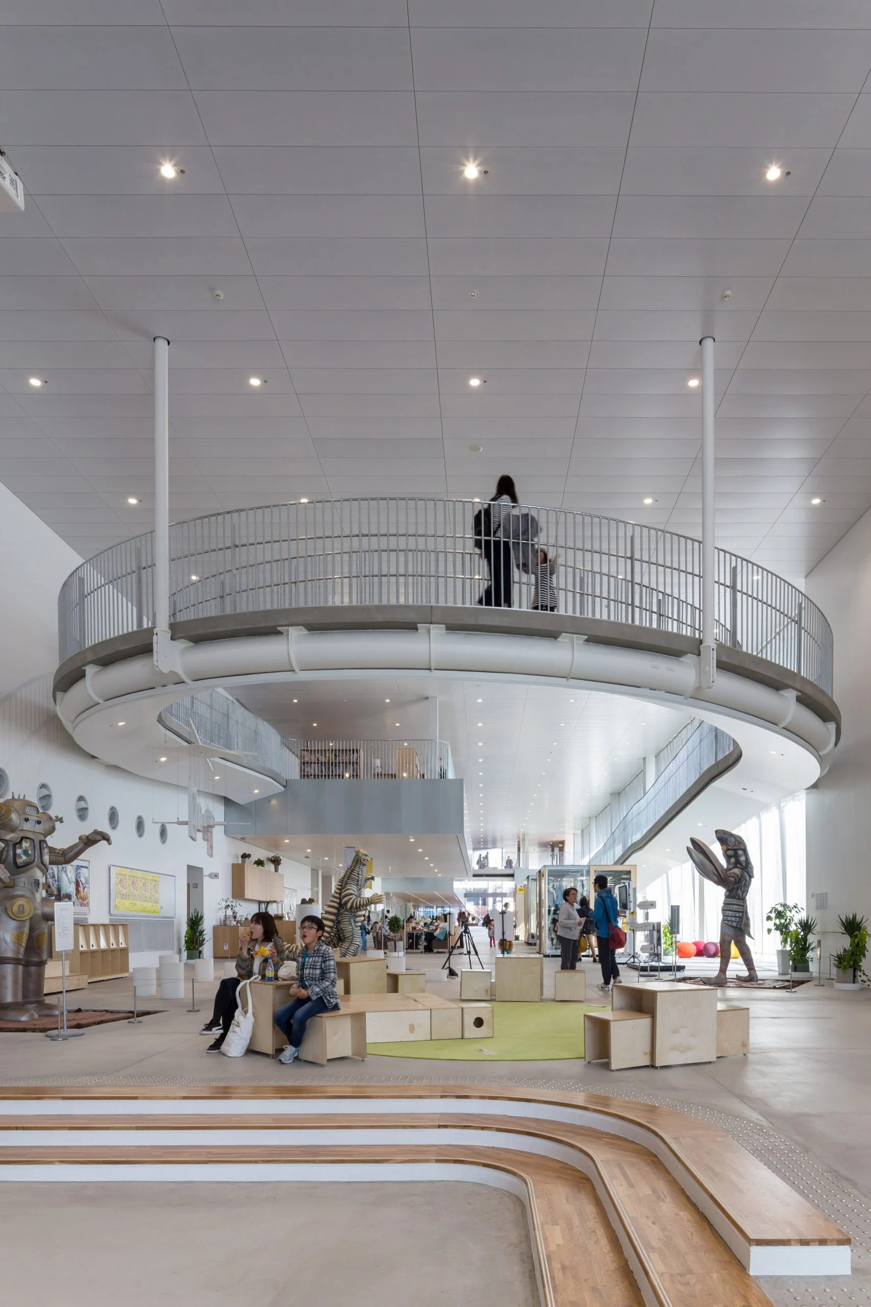 A curved ramp leads visitors between floors at The Sukagawa Community Center