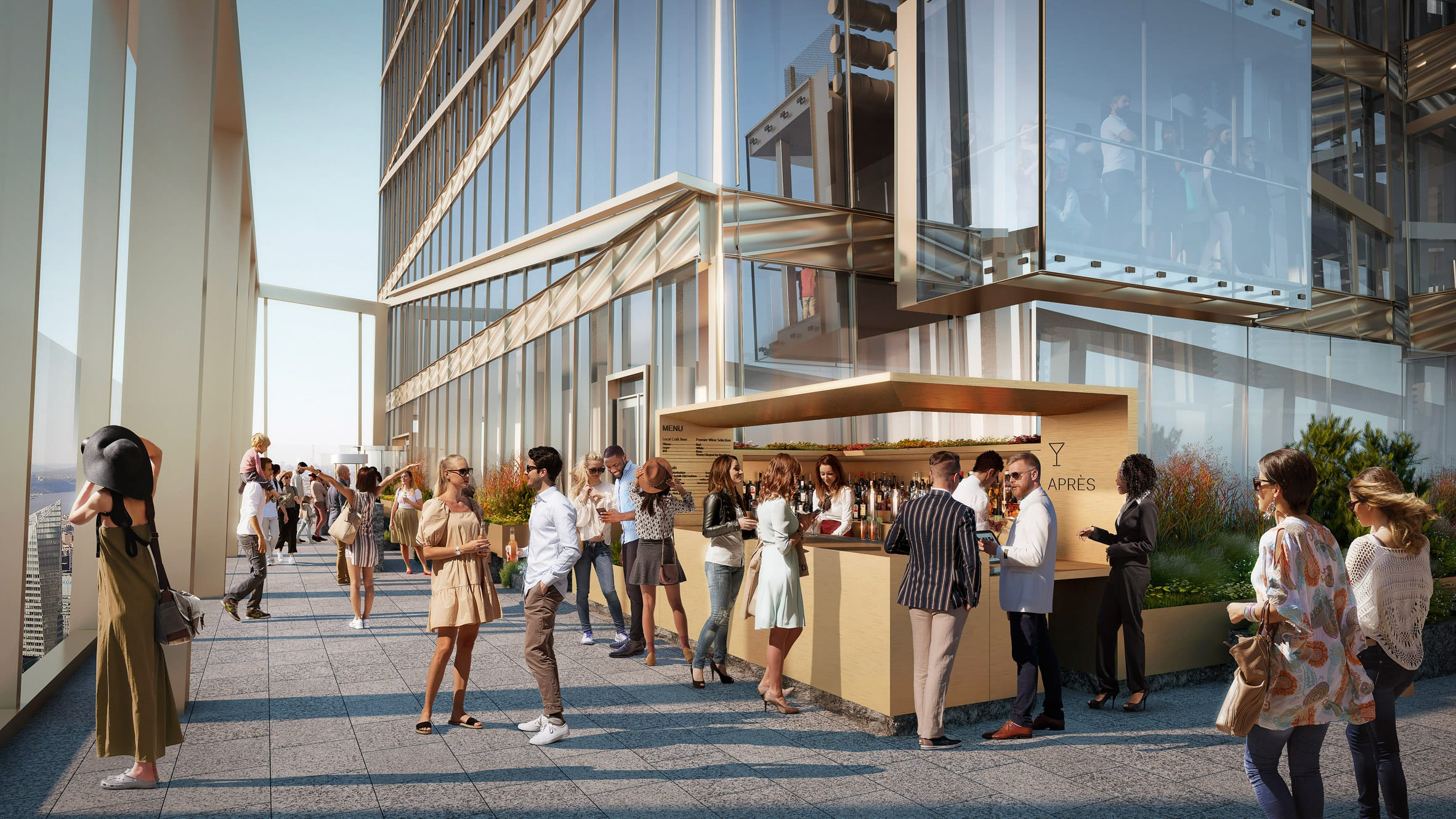 Open air bar in renders for observation deck in New York