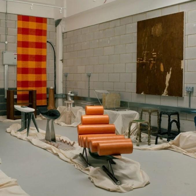 Furniture displayed in a studio space