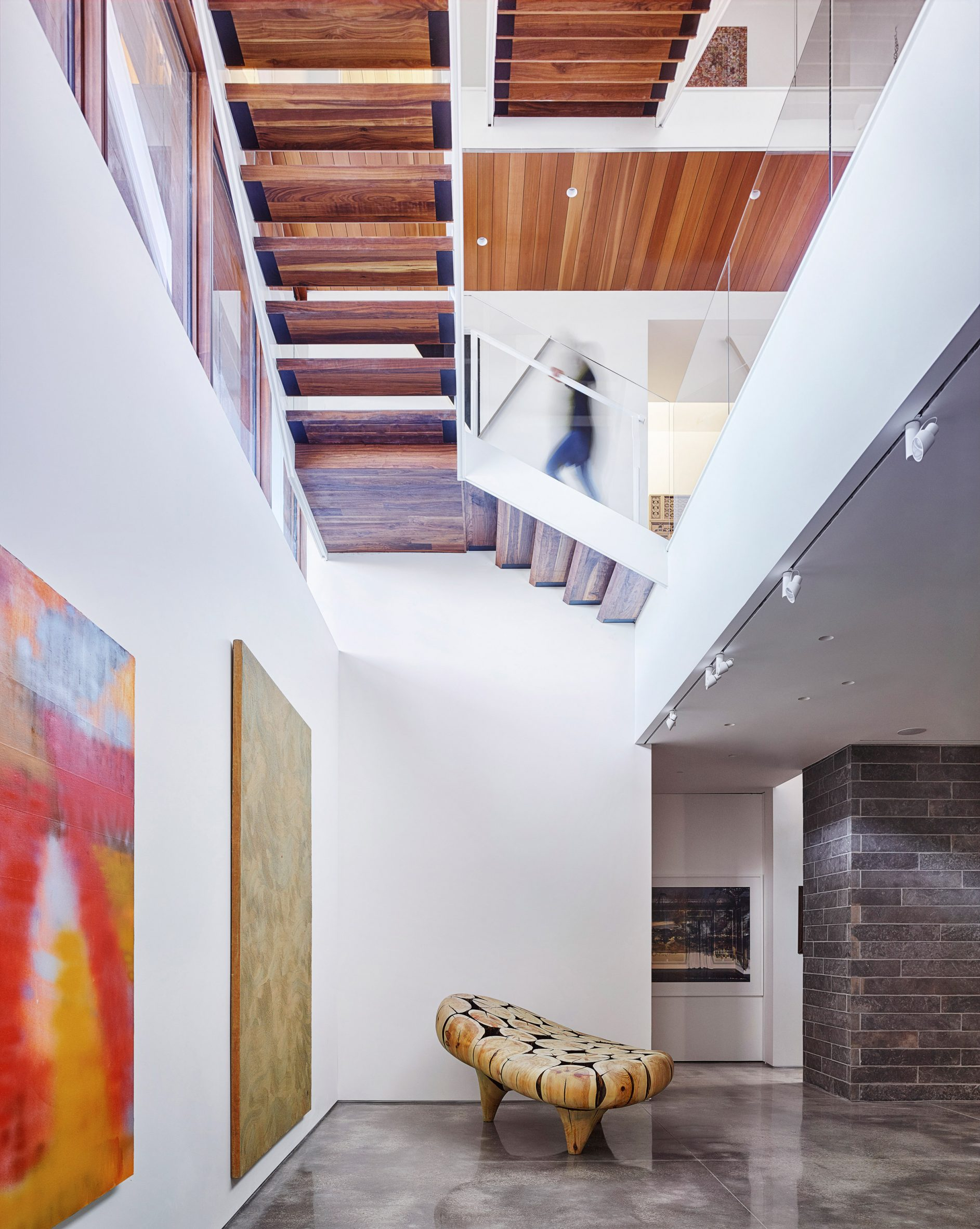 Art-filled interior space in US home