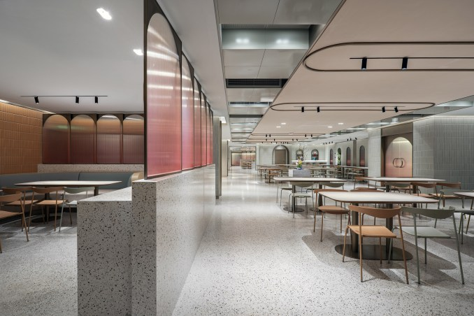 Jiaming Dining Hall with terrazzo floors and two seating areas