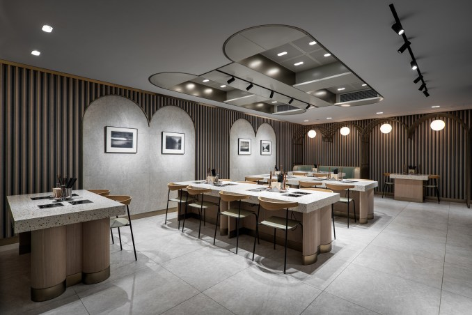 Hotpot restaurant in Jiaming Dining Hall with terrazzo tables