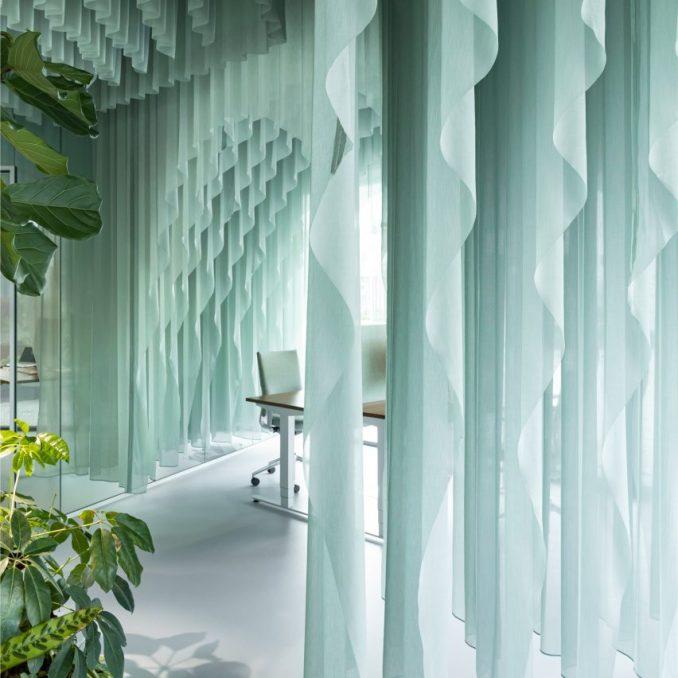 The studio added ocean-hued curtains