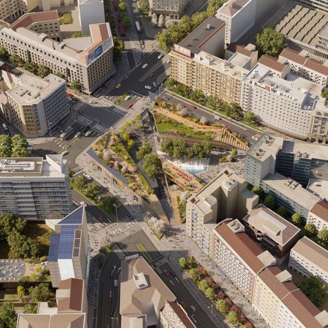 A plaza development in Milan