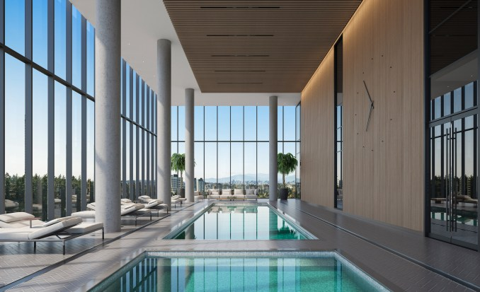 Swimming pool render of high rise residential building planned for British Columbia