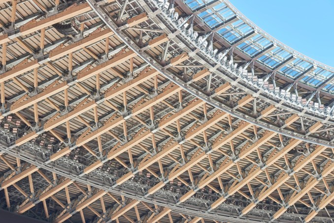 A timber and steel roof structure