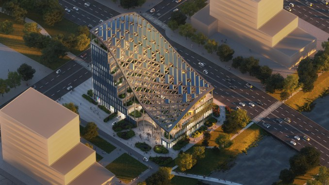 Curved roof of LAD headquarters by MVRDV