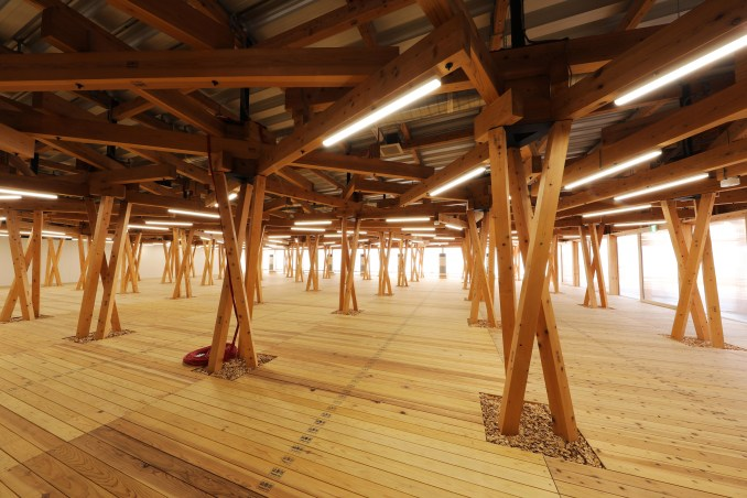 It has a latticed ceiling and support structure