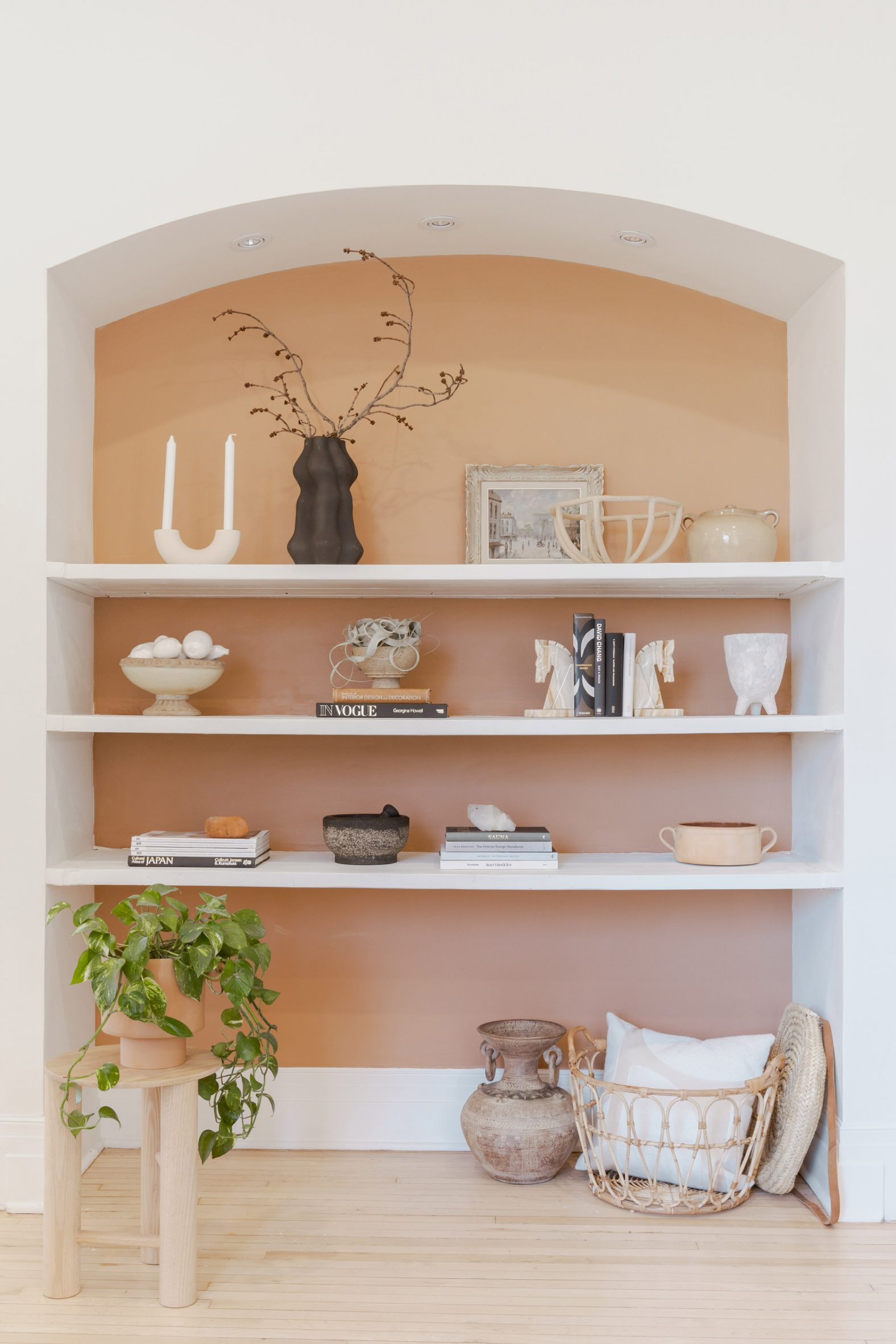 Shelving with peach backdrop