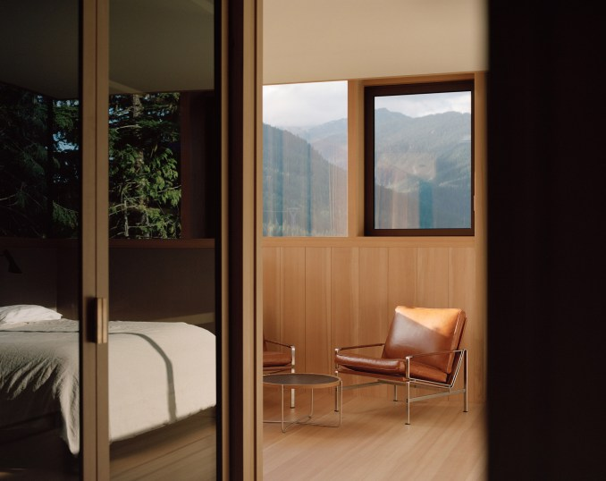 Timber-lined room, The Rock house in Whistler by Gort Scott
