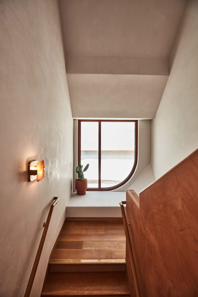 Stairwell inside protruding architectural element