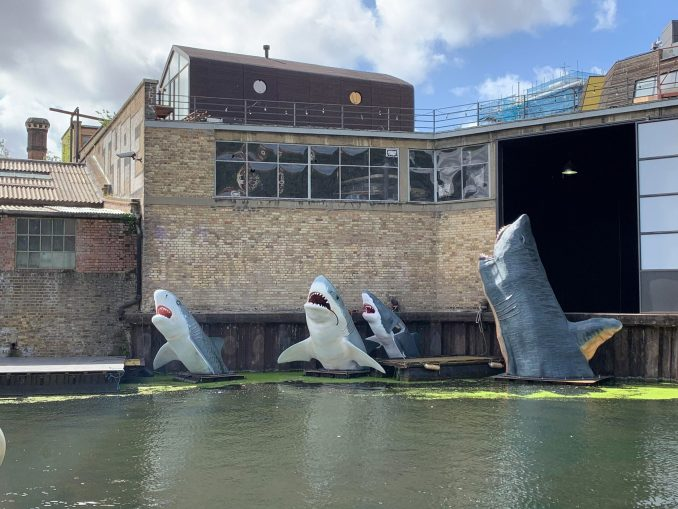Sharks! antepavilion installation pictured in regents canal