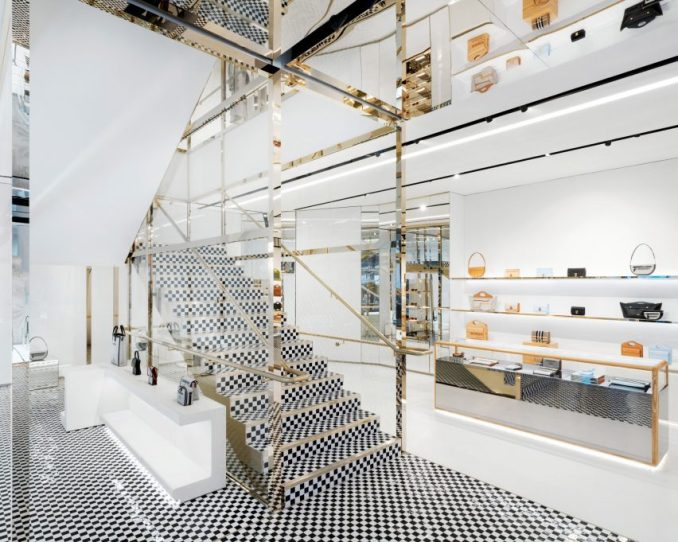 Checked tile staircase Burberry London flagship