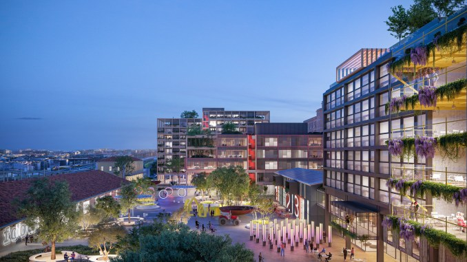 Rendering of Campo Urbano at dusk showing green walls, public art installations and plazas