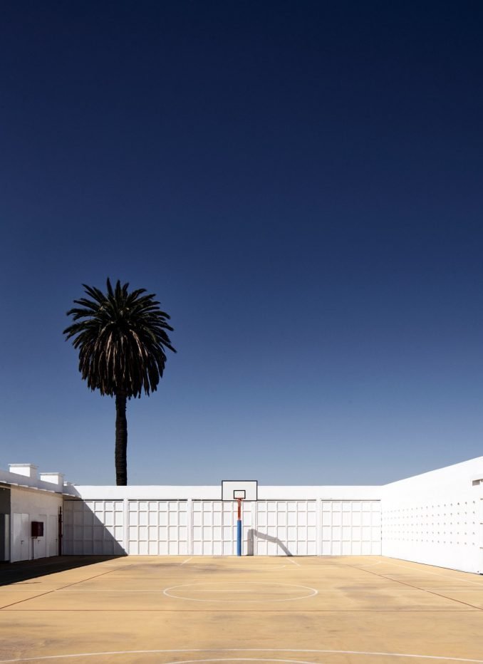 A basketball court in the Chilean school
