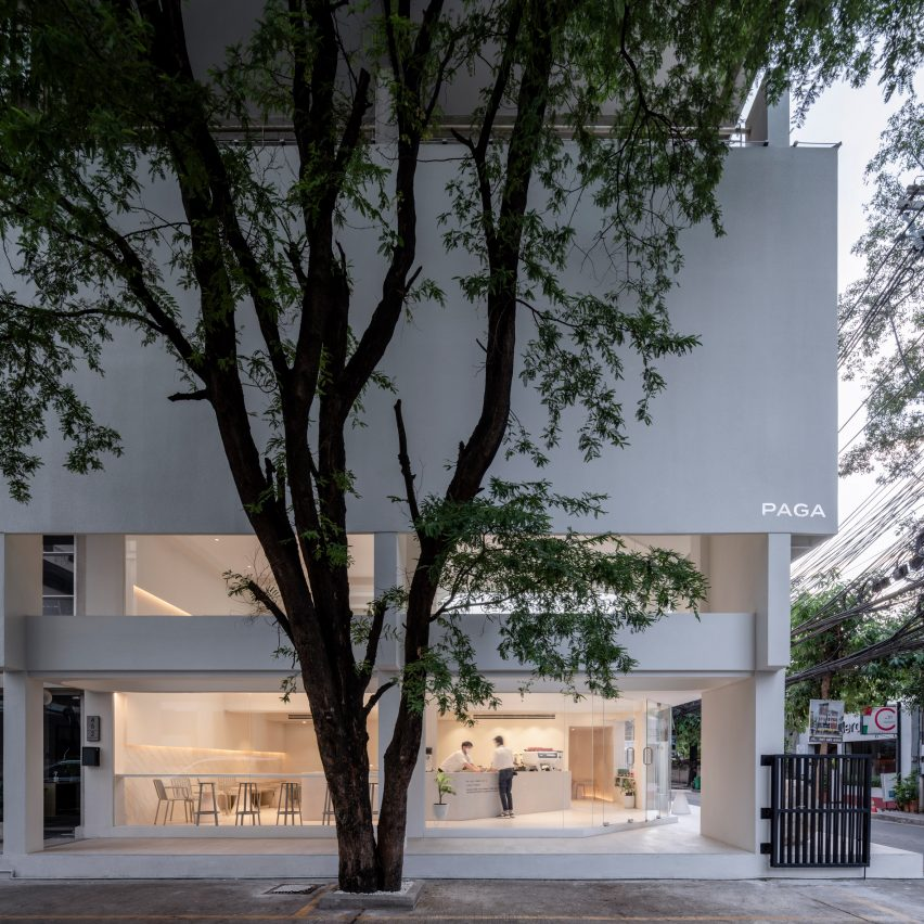 A white building behind a tree
