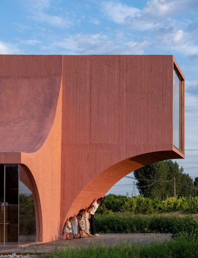 The curved exterior of the Peach Hut