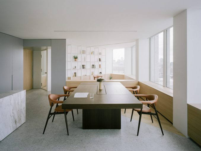 An office table and chairs inside the office