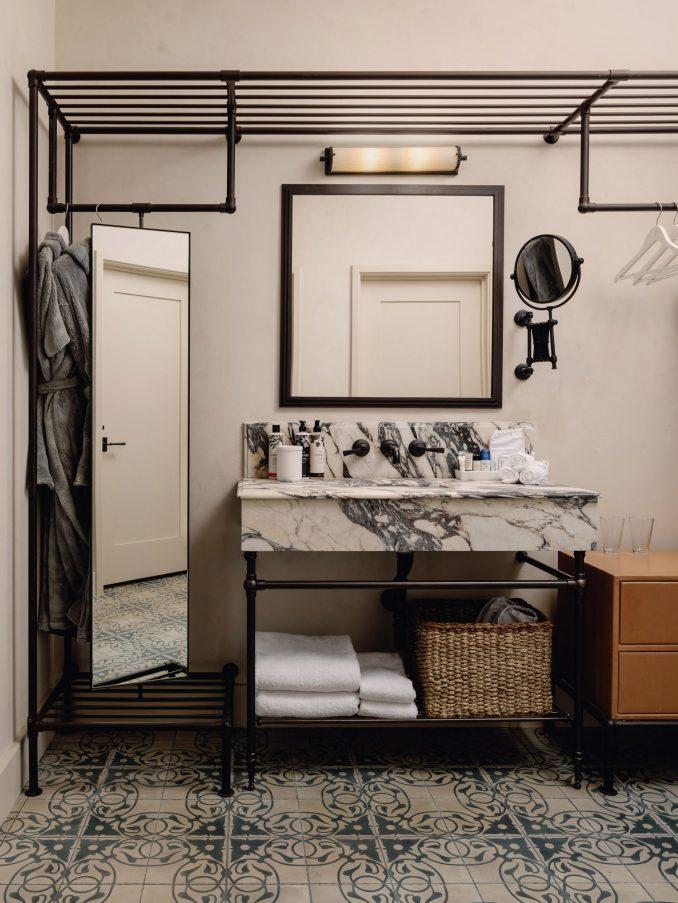 Bathroom with marble vanity