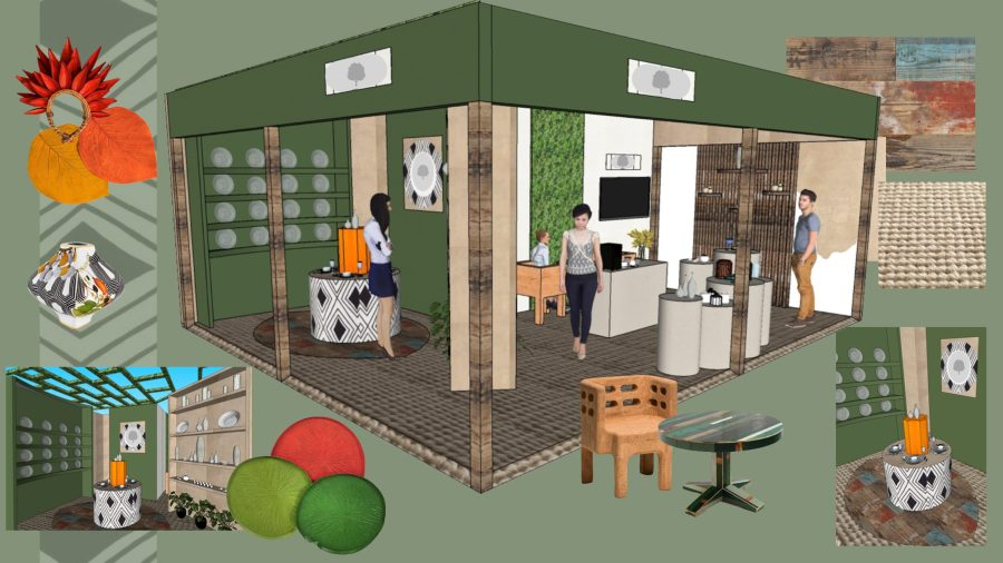 A pop up store that sells eco-friendly clothing