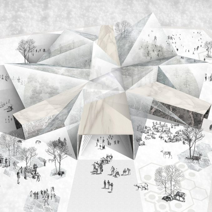 A visualisation of a potential design for The Museum of Snow