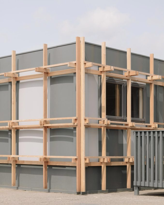 Wooden framework of Construction Skills School by EBBA Architects