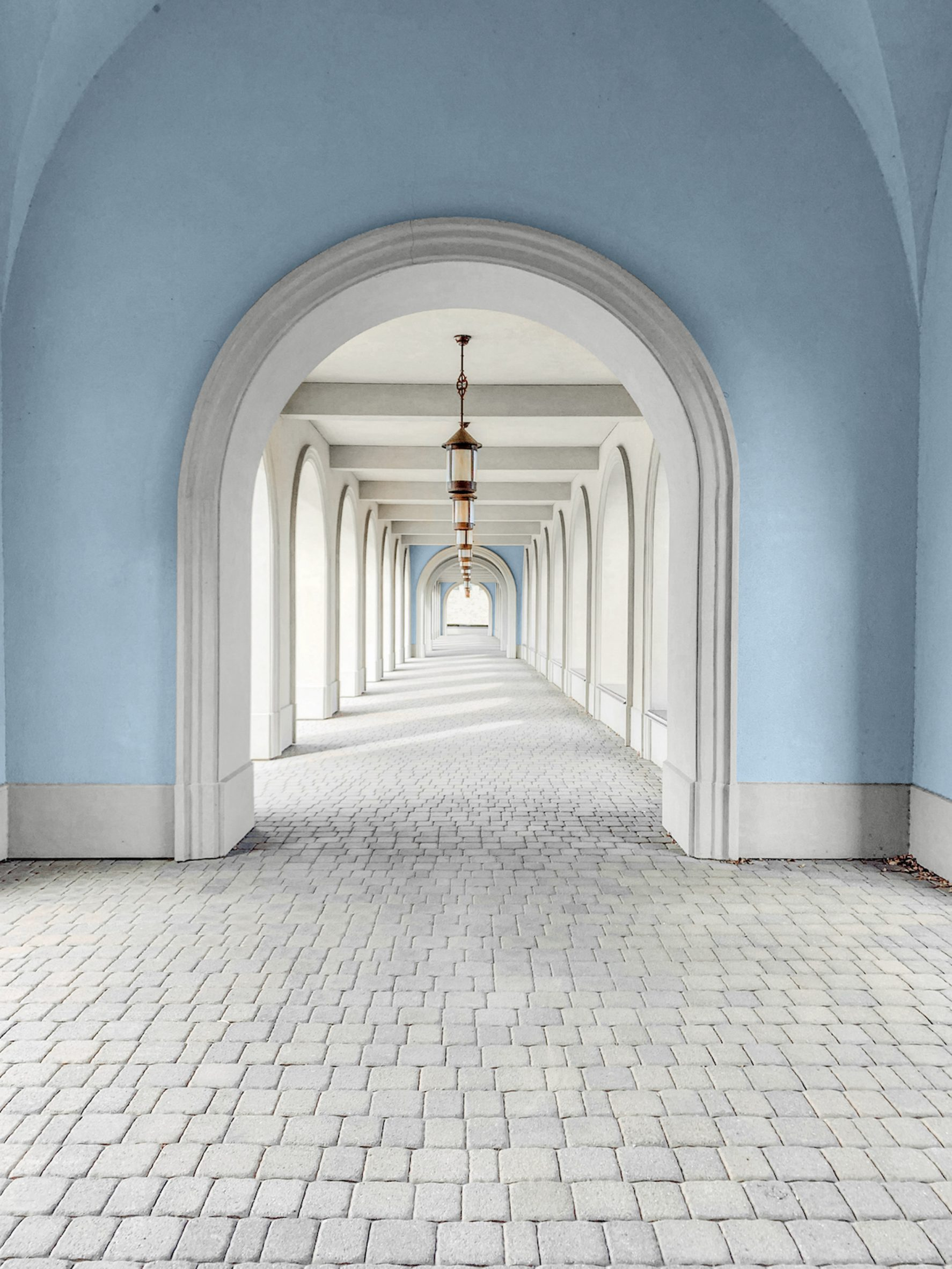 A blue rounded archway