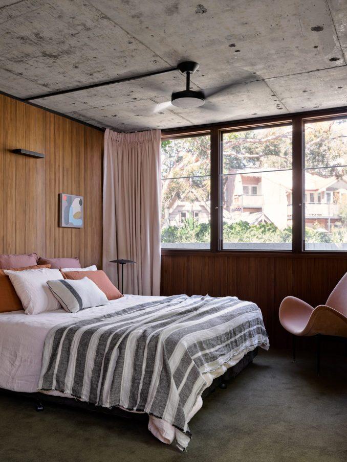 Bedroom in modernist house