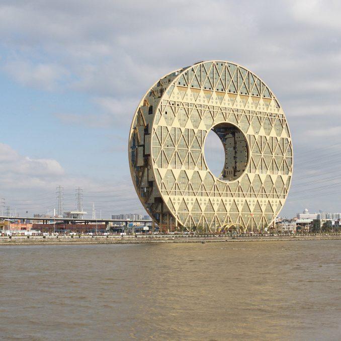 A doughnut-shaped skyscraper