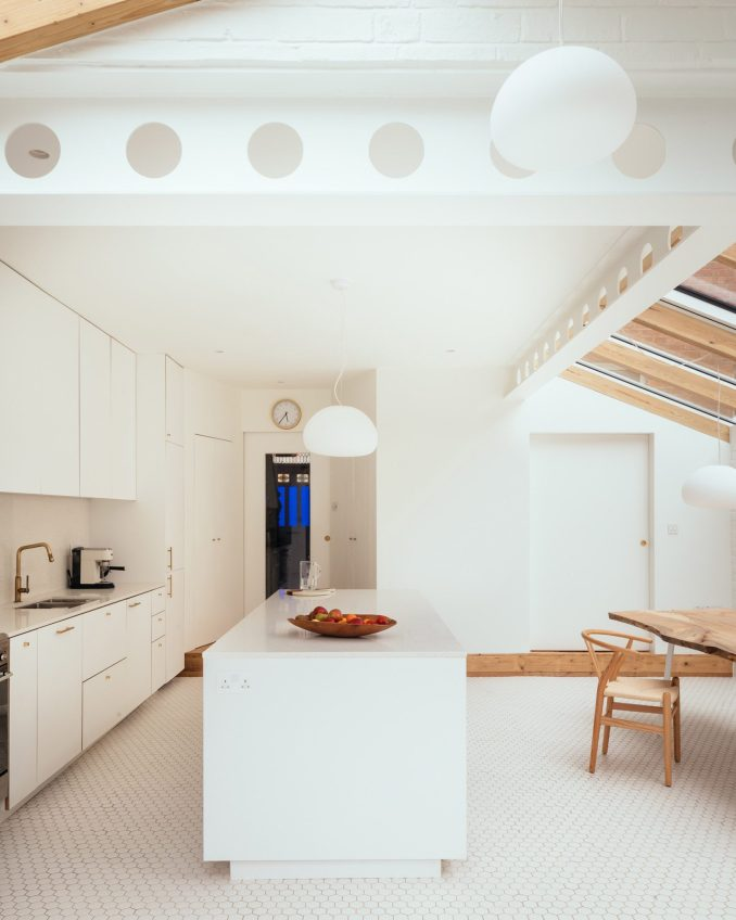 An all-white kitchen interior