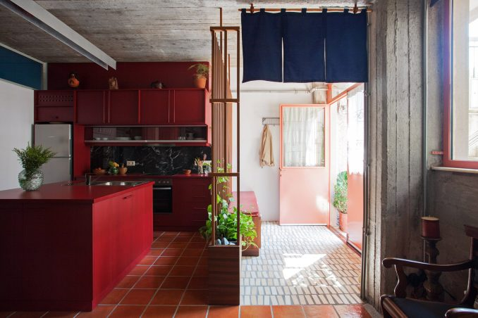 Custom-made red fomica and melamine kitchen