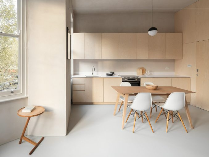 A kitchen with birch plywood joinery
