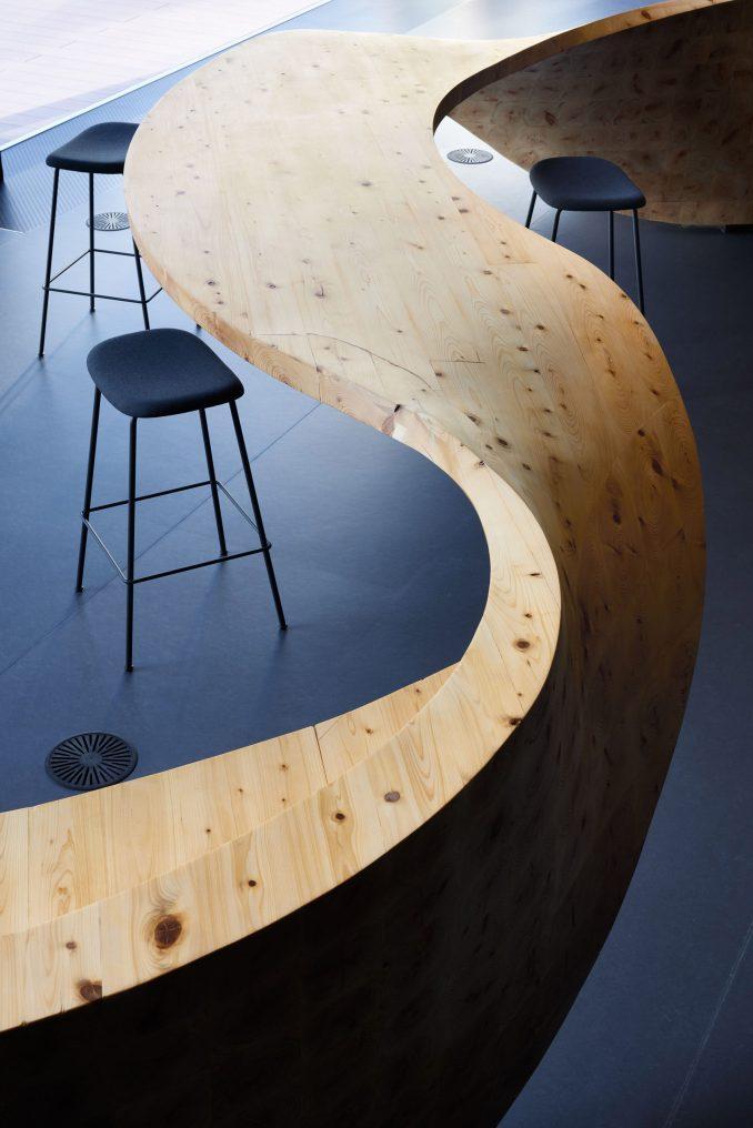 Wooden super furniture in Pangaea co-working by Snøhetta for Digital Garage