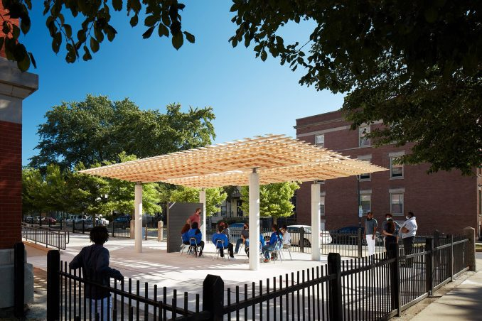 SPLAM pavilion being used as an outdoor classroom at EPIC Academy in Chicago