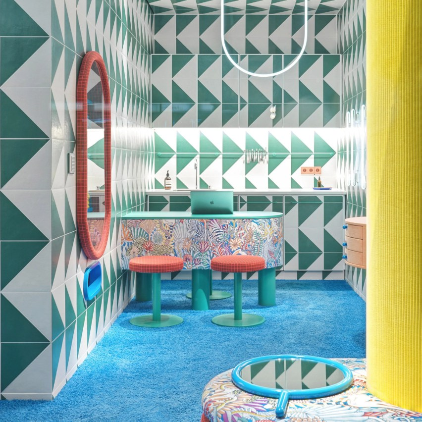 Triangle pattern tiles in Leidmann Eyewear store by Stephanie Thatenhorst
