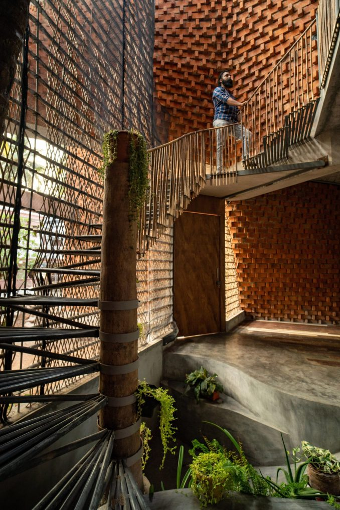 The staircase follows the form of the twisting walls at Pirouette House