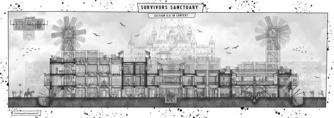 A student illustration of The Survivor's Sanctuary (The Black Plague of Blackpool, The Walking Dead)