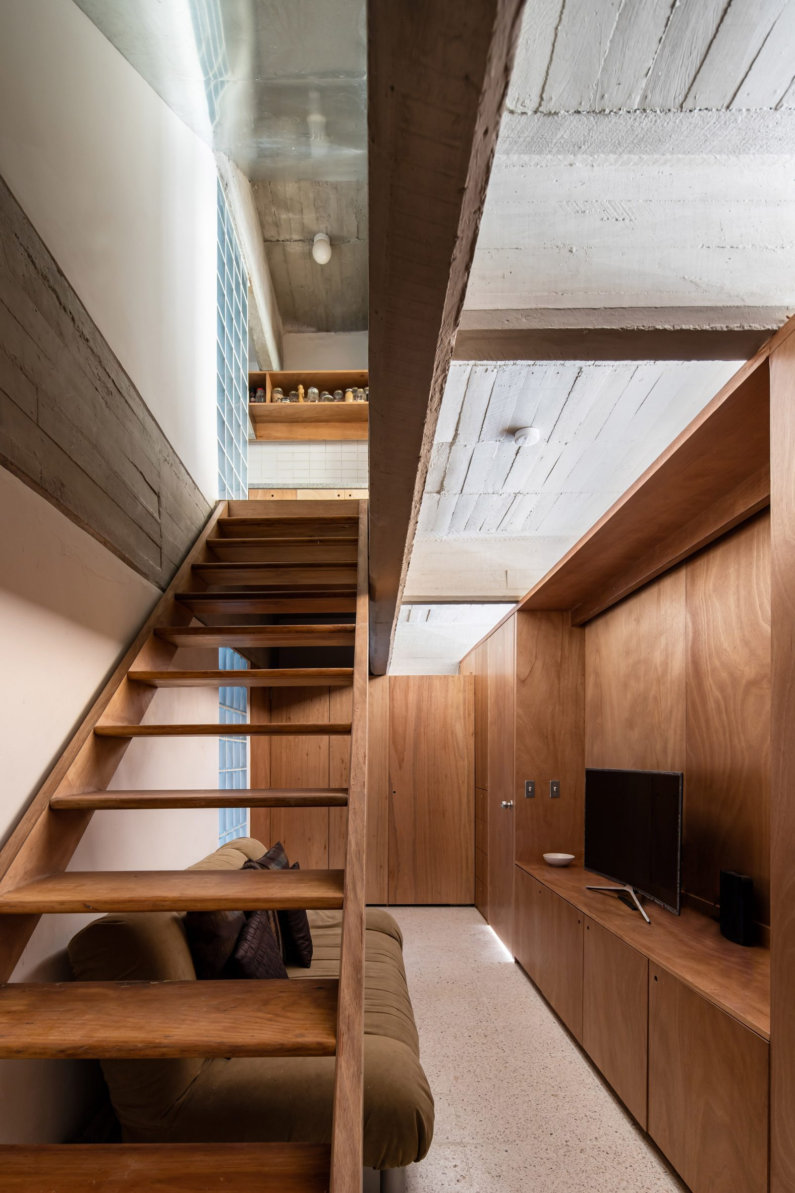 Modified wooden staircase
