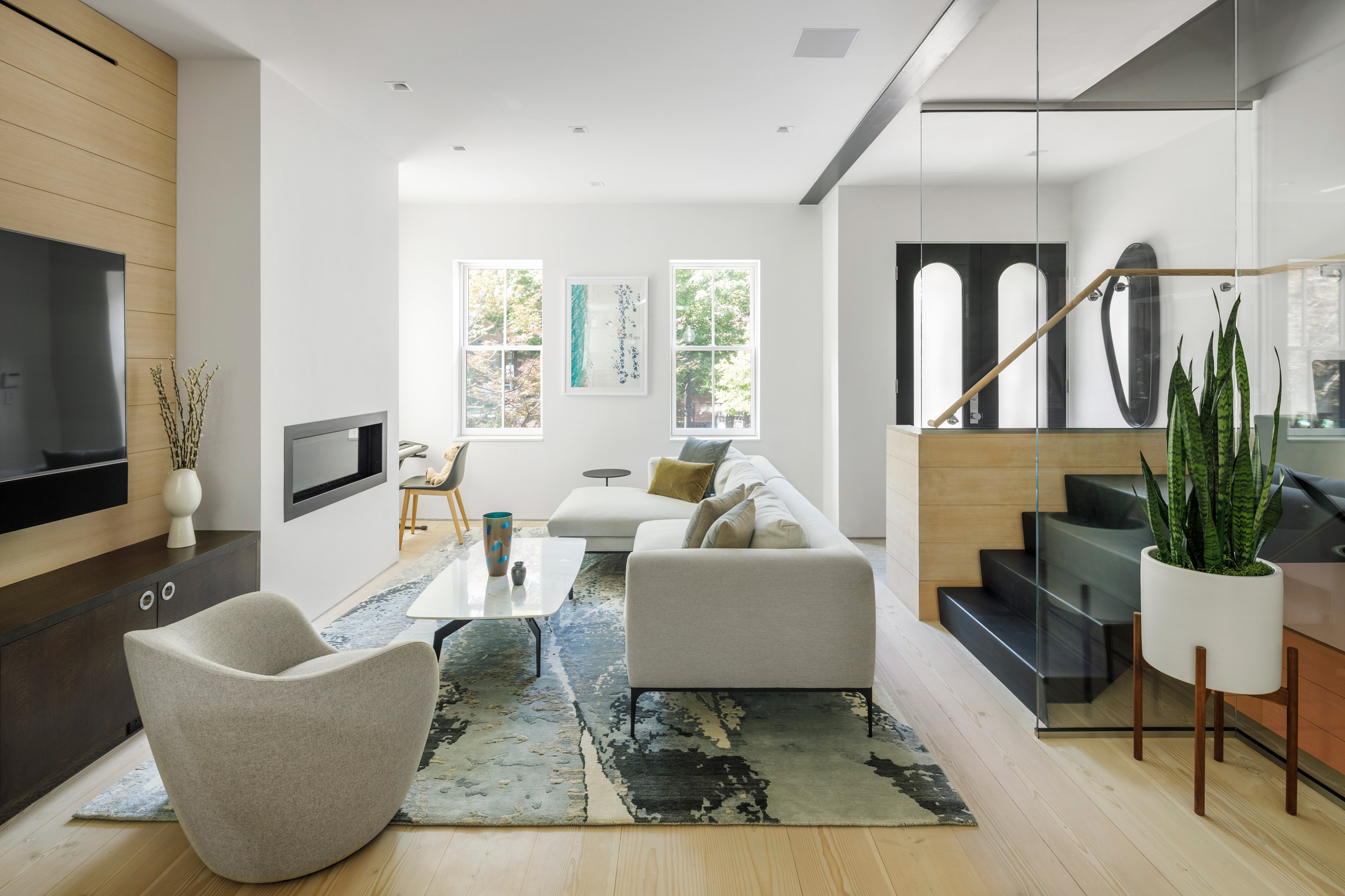 Interior view of the living space at boston house