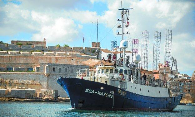 El barco de rescate Lifeline (antes llamado Sea Watch 2) que la ONG ha conseguido gracias a donativos vascos para socorrer a refugiados que huyen del «infierno» sirio.