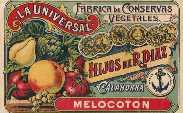 Canned peach label from 'La Universal', Calahorra (La Rioja).