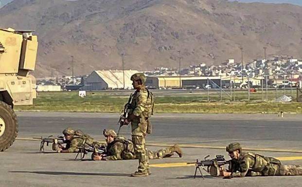 US soldiers deployed to the Kabul airport.