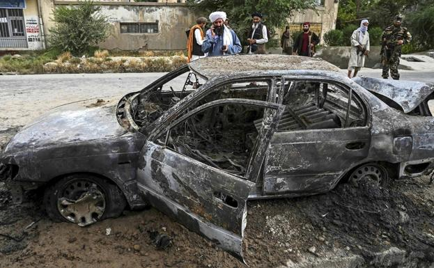Car used by terrorists to launch a missile attack on Kabul airport on Monday.
