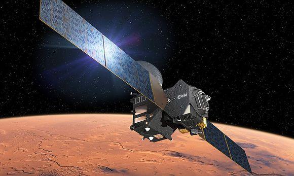 """Eine Animation des """"Trace Gas Orbiters"""" mit dem Testmodul """"Schiaparelli"""". / Bild: APA/AFP/EUROPEAN SPACE AGENCY/D."""