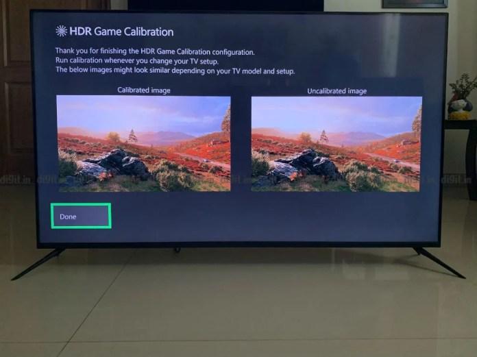 Calibrando o desempenho de HDR no Realme SLED TV usando um Xbox One X.