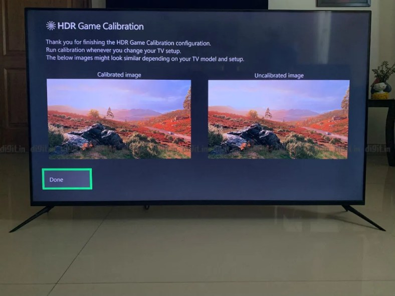 Calibrating the HDR performance on the Realme SLED TV using an Xbox One X.