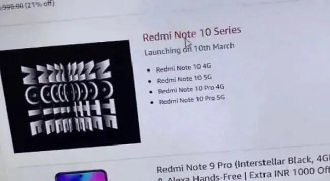 Redmi Note 10 series India launch.