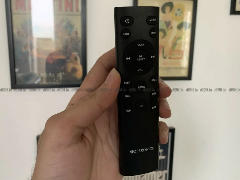 The remote control is functional and made of plastic.