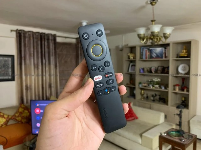 The Realme 43-inch 4K TV comes with a sleek remote control.