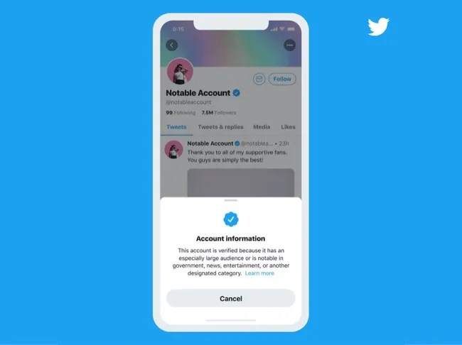 Twitter has reduced plans to resume its public verification program in January 2021